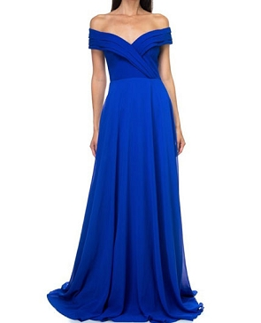 Royal Blue Off the Shoulder Chiffon Evening Dress