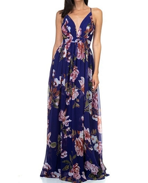 Blue Floral Print Chiffon Maxi Dress