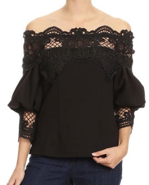 Crochet 3/4 Sleeve Off the Shoulder Top- 2 Colors