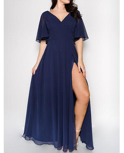 Navy Chiffon Formal Dress, Plus Size Navy Formal Dress, Navy ...