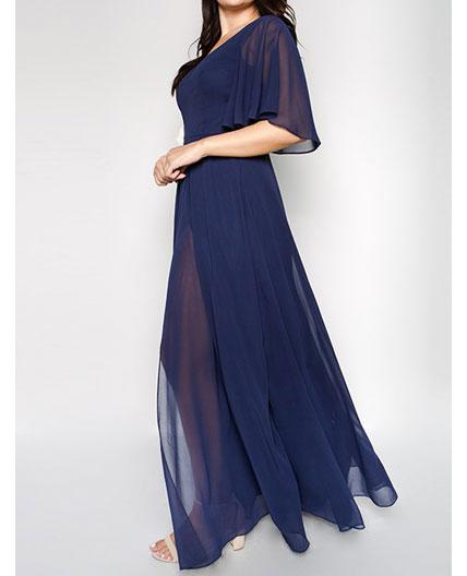 Navy Chiffon Formal Dress- Plus Size
