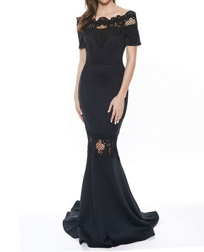 Black Off the Shoulder Mermaid Evening Dress w/Crochet Trims
