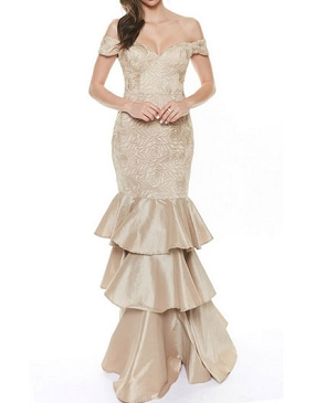 Champagne Off the Shoulder Mermaid Evening Dress