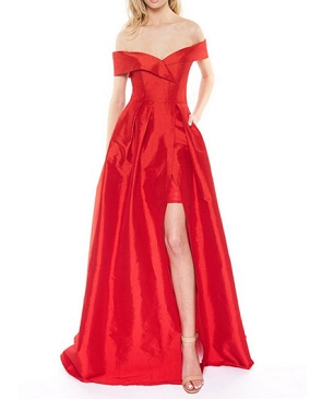 Red Taffeta Off the Shoulder Ball Gown w/Slit