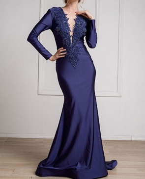 Navy Long Sleeve Mermaid Evening Dress w/Bead Trims
