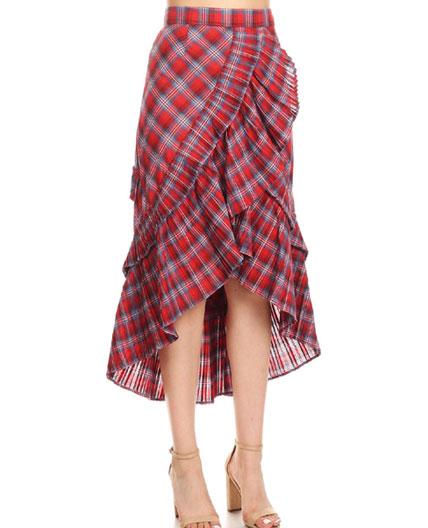 b585b939c78fce Red Plaid High Low Skirt, Red Plaid Ruffle Skirt, Red Plaid Knee ...