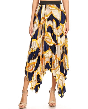 Yellow Chain Print Pleaded Skirt