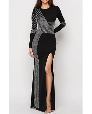 Black Long Sleeve Formal Dress w/Rhinestones