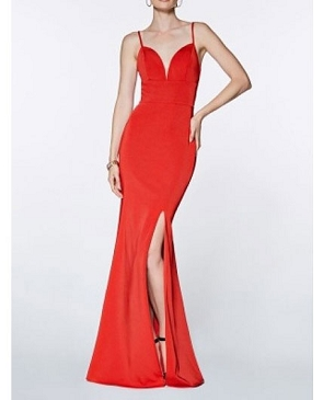 Solid Mermaid Formal Dress w/Slit- 2 Colors