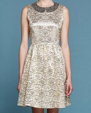 Gold Brocade Short Dress w/Beaded Collar