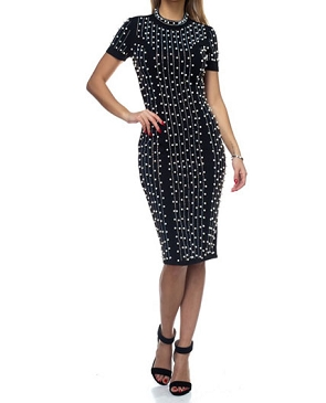 Pearl Rhinestone Black Midi Dress