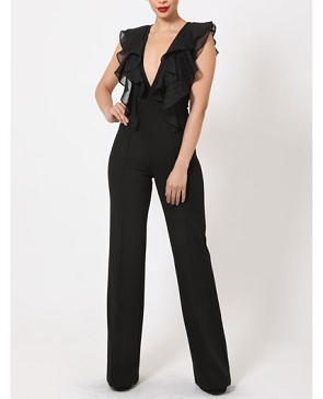 V-Neck Jumpsuit with Chiffon Ruffles- 2 Colors