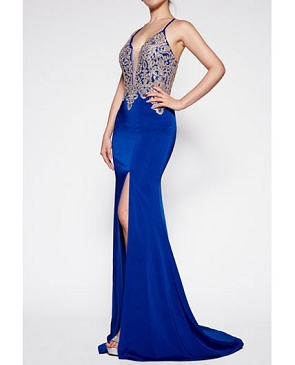 Royal Blue Mermaid Dress with Gold Trim Bodice and Slit