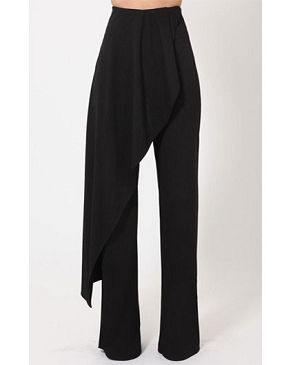 Black Dress Pants with Front Skirt Overlay