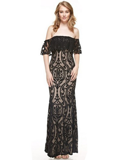 Off The Shoulder Black Formal Dress Black Lace Evening Dress Off