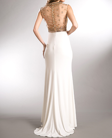 Shop White Prom Dress Miami White And Gold Prom Dress White And