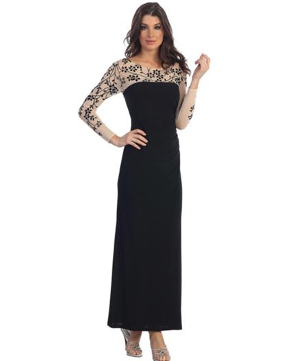4c028234900 Home   Evening Dresses   L S Lycra Stretch Dress w Sheer Mesh Floral Print-  2 Colors