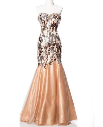 Vintage Wedding Dresses Miami: Gold Sequins Trumpet Evening Dress, Gold Prom Dress, Gold
