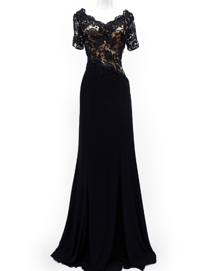 Black Guipure Lace Short Sleeve Evening Dress Shop Mother Of The