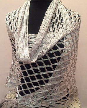 Crochet Metallic Shawl w/Fringe- 5 Colors