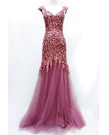 Mauve Pink Sequins and Tulle Evening Gown