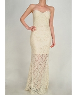 Strapless Lace Formal Dress- 3 Colors