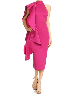 Magenta Scuba Halter Midi Dress w/Side Ruffle