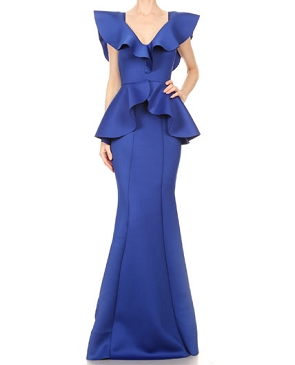 Royal Blue Scuba Formal Dress w/Peplum Ruffle