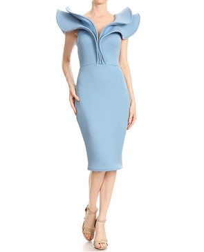 Scuba Midi Dress w/Dramatic Shoulder Ruffle- 3 Colors