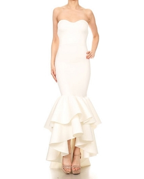 Scuba Strapless Formal Dress w/Hi Low Bottom Ruffles- 2 Colors