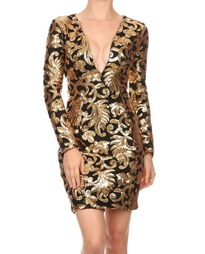 L/S Black and Gold Sequins Mini Dress
