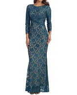L/S Teal Lace Modest Formal Dress