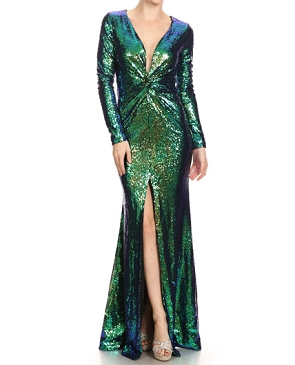 L/S Iridescent Sequins Formal Dress- 2 Colors