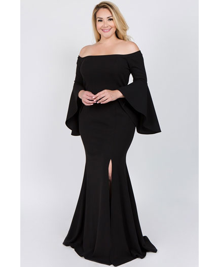 b7bb562c4c75 Home   Evening Dresses   Black Off the Shoulder Formal Dress w Bell  Sleeves- Plus Size