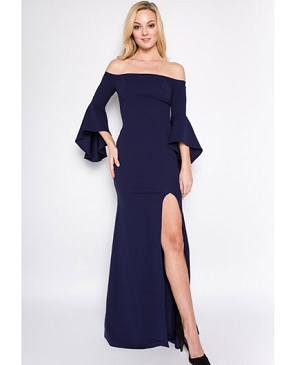 Navy Off the Shoulder Formal Dress w/Bell Sleeves