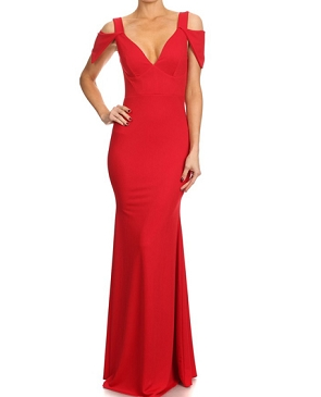 V-Neck Solid Formal Dress w/Cutout Cap Sleeves- 2 Colors