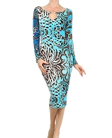 L/S Printed Bodycon Dress