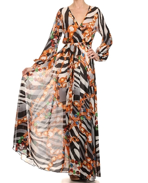 Zebra Jeweled Print Chiffon Long Wrap Dress