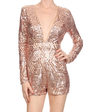 L/S Sequins Romper- 2 Colors