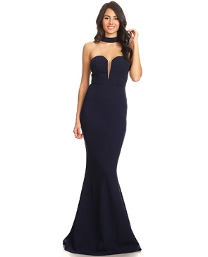 Sweetheart Strapless Formal Dress w/Choker- 3 Colors