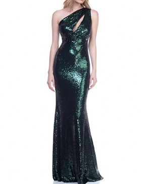 Hunter Green Sequins One Shoulder Formal Dress