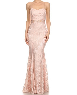 Lace Spaghetti Strap Formal Dress- 3 Colors