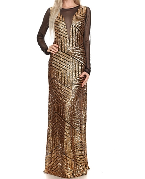 Sequins Formal Dress w/Long Mesh Sleeves- 2 Colors