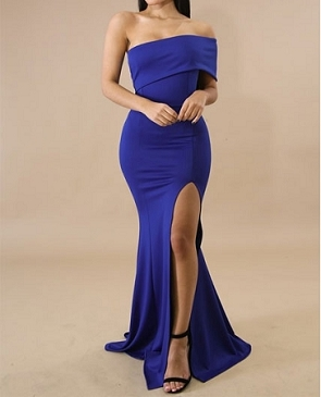 One Shoulder Formal Dress w/Slit- 3 Colors