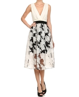 Black/White Floral Organza Dress