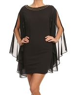 Black Short Dress w/Chiffon Wide Sleeves