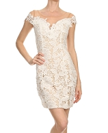 Guipure Lace Cocktail Short Dress- 2 Colors