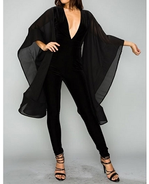Black Velvet Jumpsuit w/Cape Sleeves