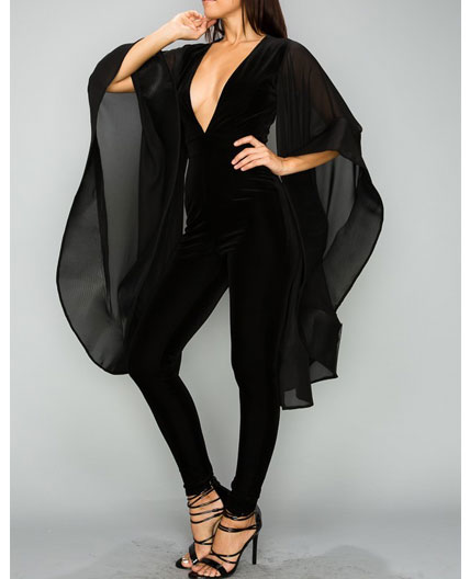 95c5baeb5f5 Black Velvet Jumpsuit w Cape Sleeves