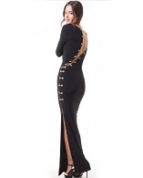 Black L/S Long Dress w/Gold Lace Up Chain
